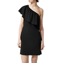 Buy Warehouse One Shoulder Crepe Frill Dress, Black Online at johnlewis.com