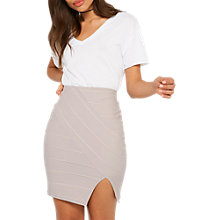 Buy Miss Selfridge Split Front Bandage Skirt, Grey Online at johnlewis.com