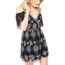 Buy Miss Selfridge Petite Mono Bardot Dress, Black Online at johnlewis.com