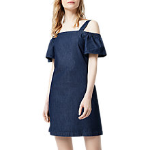 Buy Warehouse Cut Out Angel Sleeve Dress, Mid Wash Denim Online at johnlewis.com