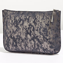 Buy Jigsaw Alana Large Textured Leather Pouch Clutch, Navy Smoke Online at johnlewis.com