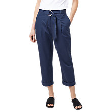 Buy Warehouse Pleated Casual Trousers, Navy Online at johnlewis.com