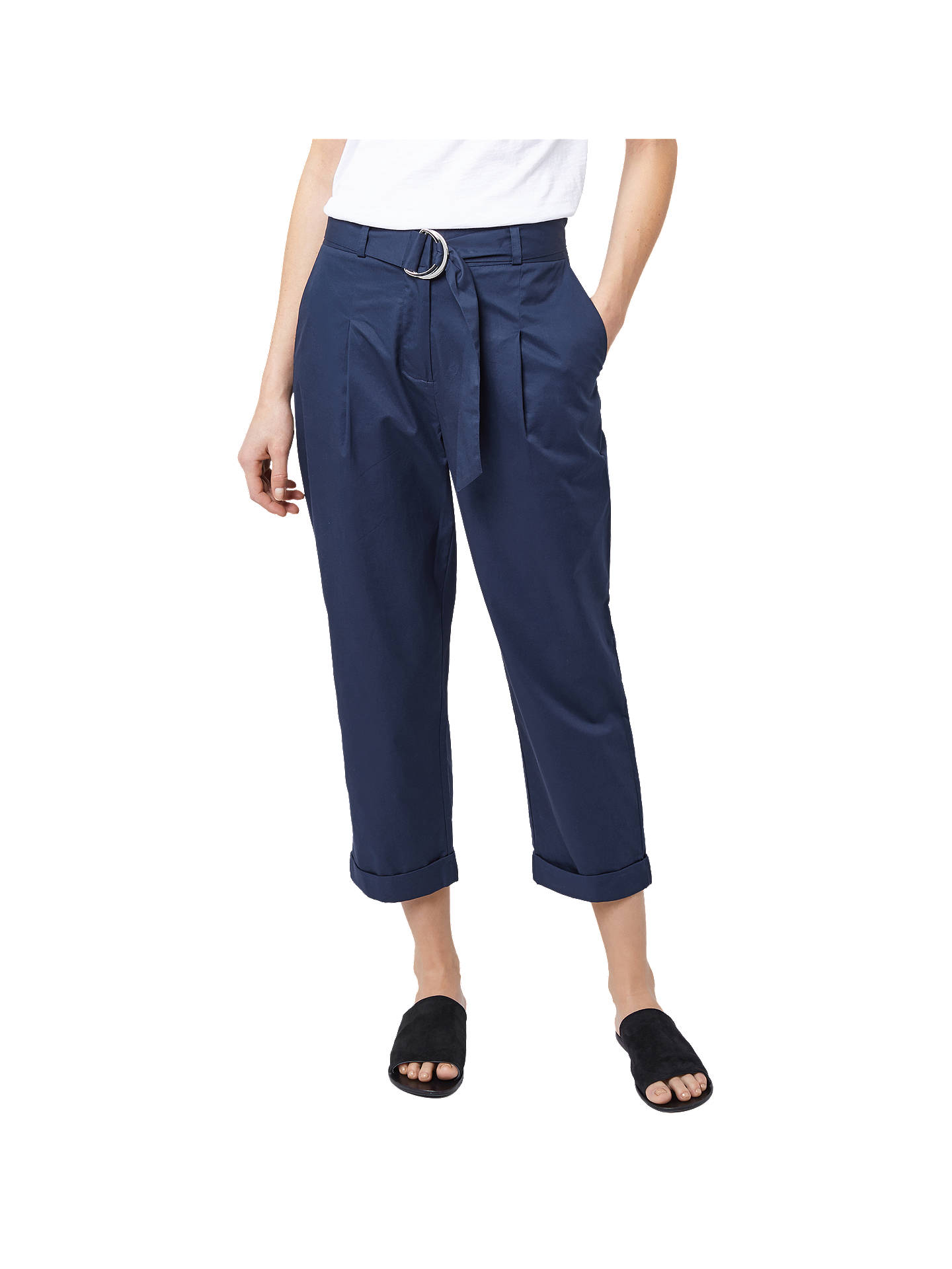 BuyWarehouse Pleated Casual Trousers, Navy, 6 Online at johnlewis.com