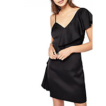 Buy Miss Selfridge Asymmetric Ruffle Dress, Black Online at johnlewis.com