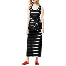Buy Warehouse Stripe Tie Front Maxi Dress, Black Online at johnlewis.com