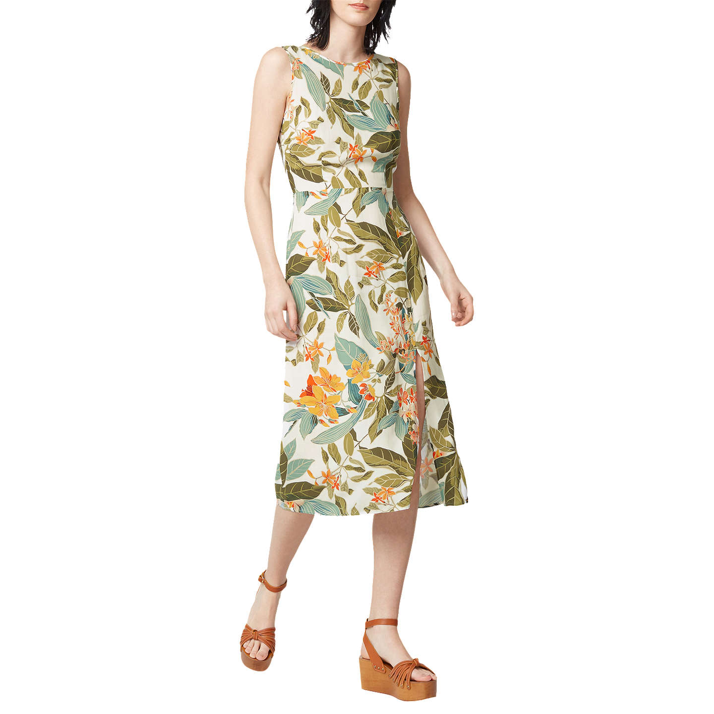 BuyWarehouseTropical Garden Tie Back Dress, Neutral Print, 6 Online at johnlewis.com