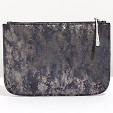 Buy Jigsaw Alba Medium Textured Leather Pouch Clutch, Navy Smoke Online at johnlewis.com
