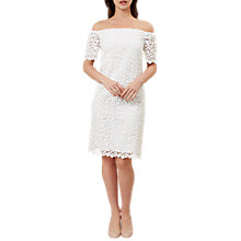 Buy Hobbs Rachel Lace Bardot Dress, Ivory Online at johnlewis.com