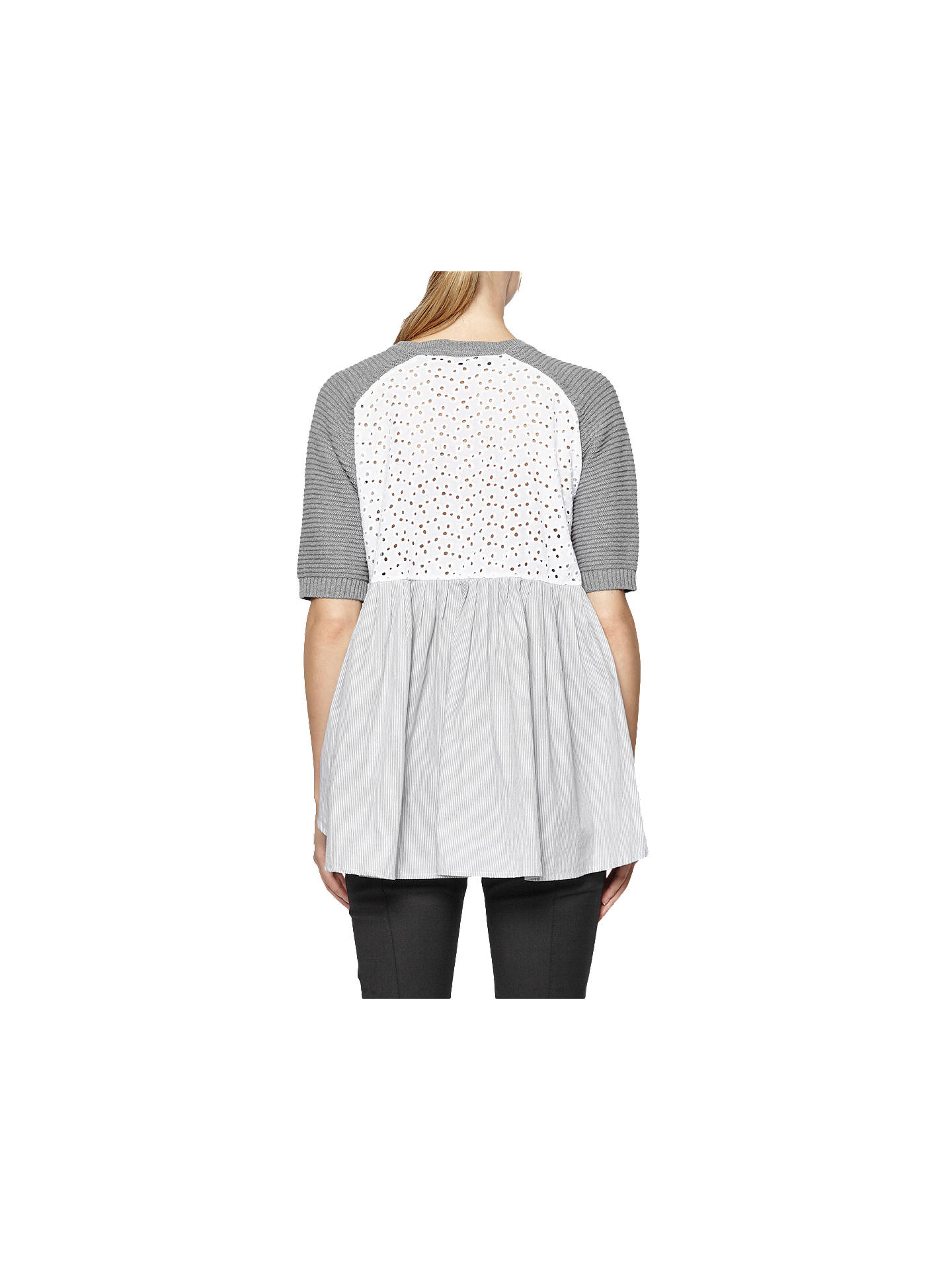 BuyFrench Connection Effie Short Sleeve Textured Jumper, Grey Mel/Multi, XS Online at johnlewis.com