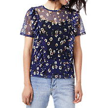 Buy Warehouse Mae Floral Mesh Top, Blue/Multi Online at johnlewis.com