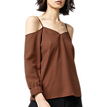 Buy Warehouse Cami Cold Shoulder Top, Brown Online at johnlewis.com