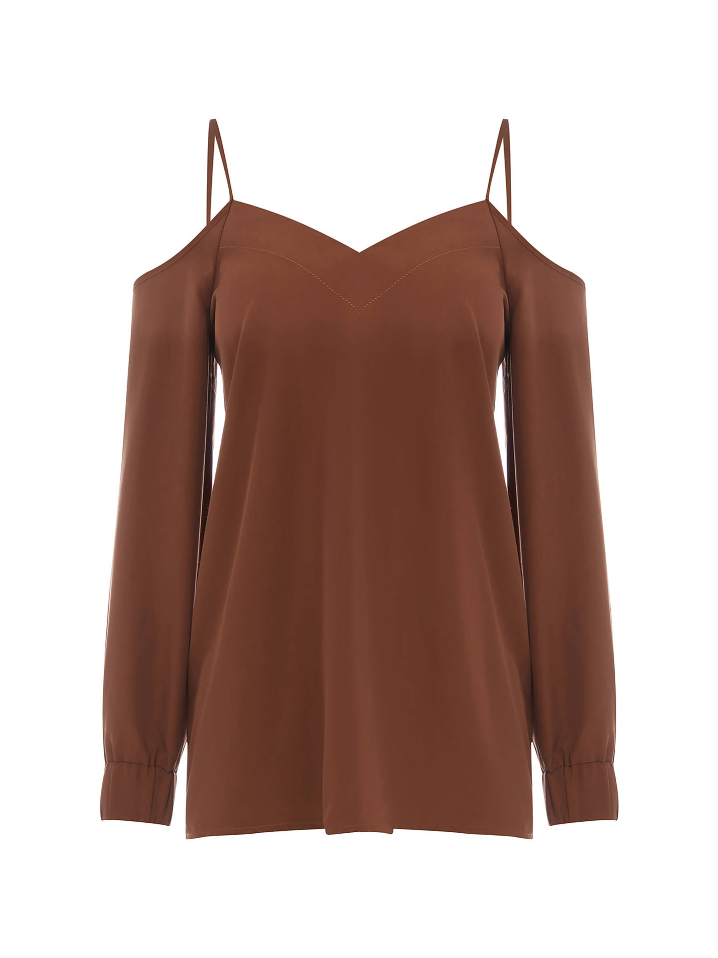 f5eec9580ba ... Buy Warehouse Cami Cold Shoulder Top, Brown, 6 Online at johnlewis.com  ...