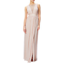 Buy Adrianna Papell Sleeveless Lace Stretch Tulle Gown, Blush Online at johnlewis.com