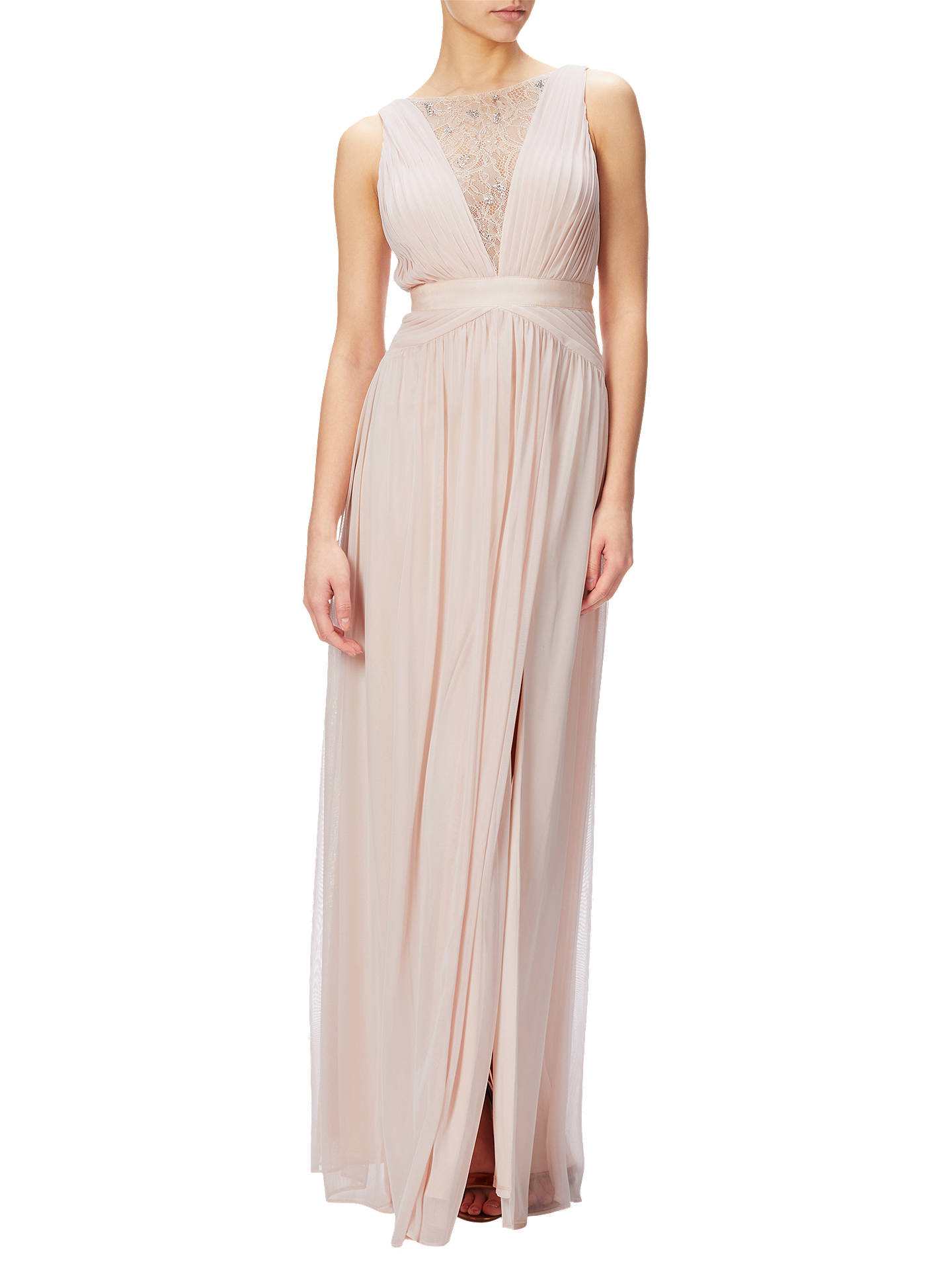 Adrianna Papell Sleeveless Lace Stretch Tulle Gown, Blush at John ...