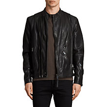 Buy AllSaints Parker Leather Biker Jacket, Black Online at johnlewis.com