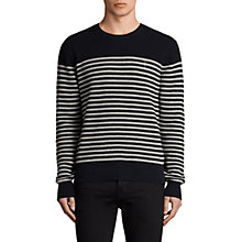 Buy AllSaints Trias Breton Crew Neck Jumper, Ink Navy Online at johnlewis.com