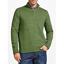 Buy John Lewis Budding Cotton Zip Neck Jumper, Green Online at johnlewis.com