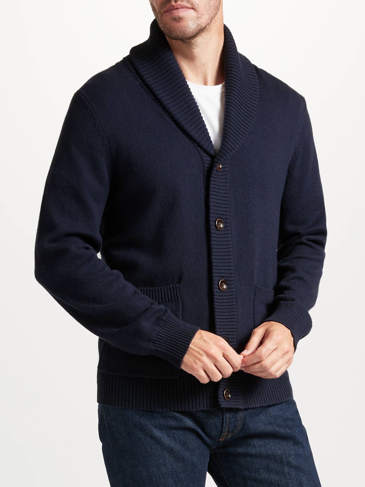 BuyJohn Lewis Shawl Neck Cardigan, Navy, S Online at johnlewis.com ...
