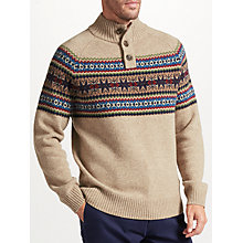 Buy John Lewis Fairisle Button Neck Jumper, Natural Online at johnlewis.com