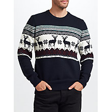 Buy John Lewis Christmas Charity Reindeer Jumper, Navy Online at johnlewis.com