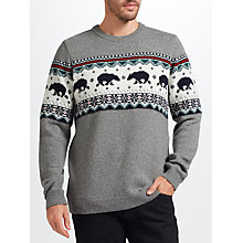 Buy John Lewis Christmas Polar Bear Jumper, Grey Online at johnlewis.com