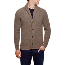 Buy Hackett London Shawl Ribbed Cardigan, Taupe Online at johnlewis.com