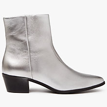Buy Pieces Pedrine Leather Boots, Silver Online at johnlewis.com
