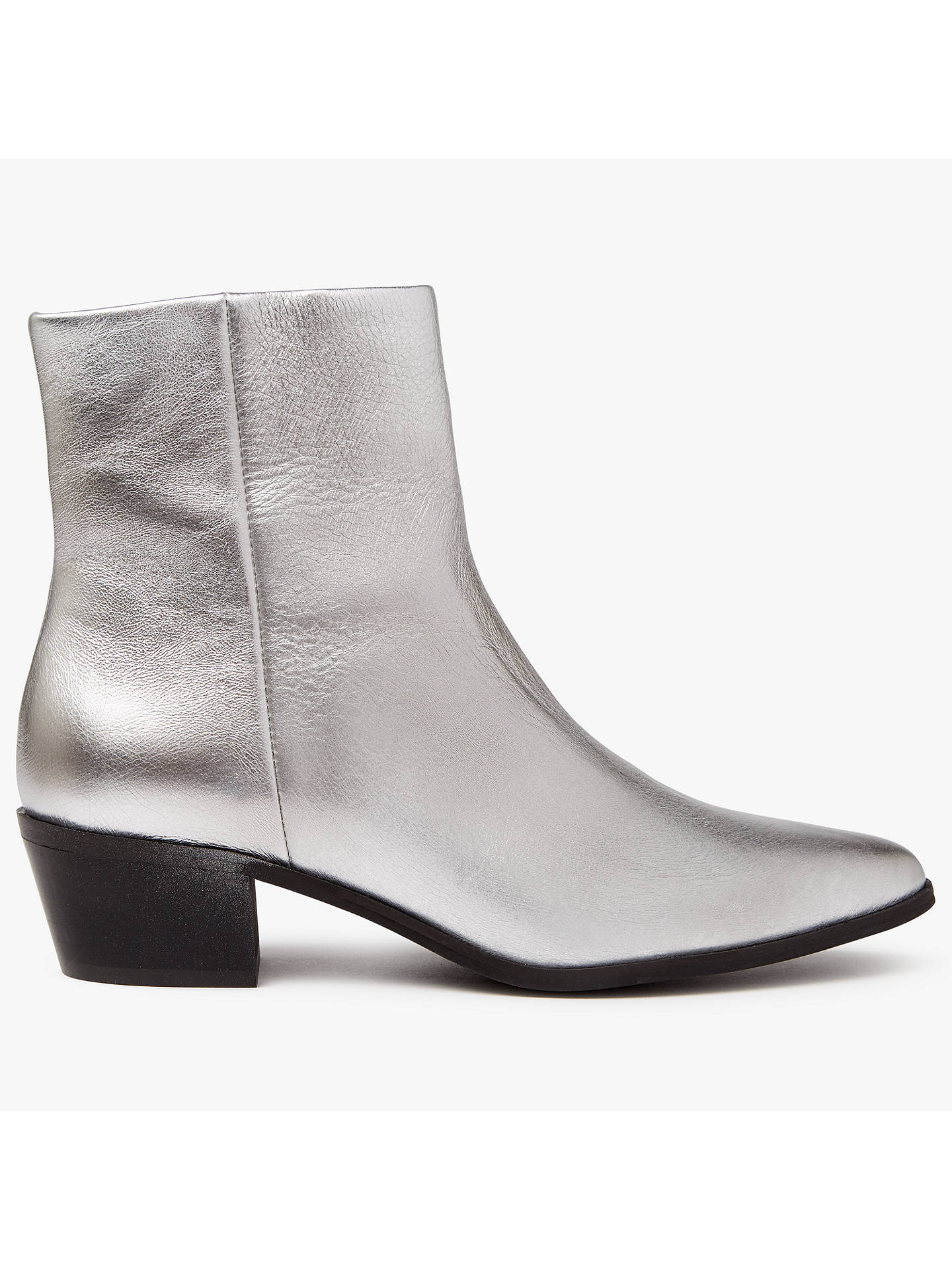 Pieces Pedrine Leather Boots Silver At John Lewis Partners