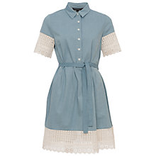 Buy French Connection Holiday Lace Shirt Dress, Indigo/Summer White Online at johnlewis.com