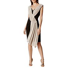 Buy Karen Millen Crepe and Drape Pencil Dress, Black/Ivory Online at johnlewis.com