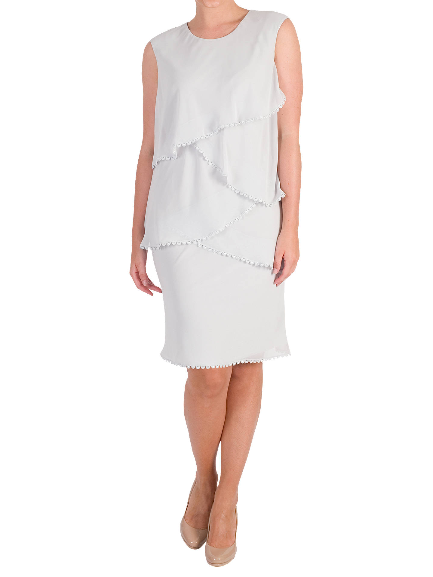Buy Chesca Lace Trim Chiffon Layered Dress, Silver Grey, 14 Online at johnlewis.com