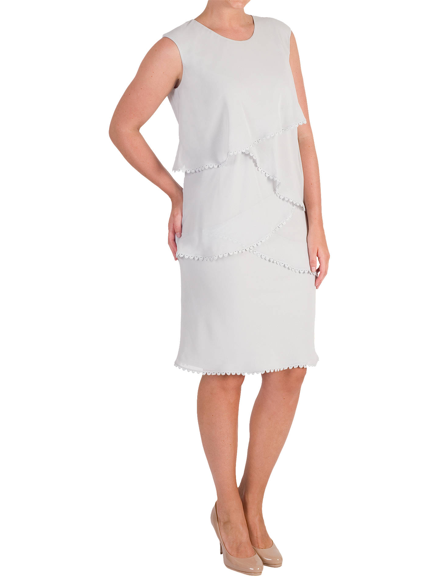 BuyChesca Lace Trim Chiffon Layered Dress, Silver Grey, 14 Online at johnlewis.com