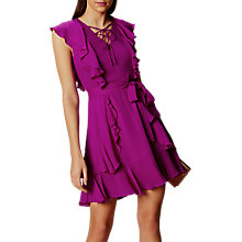 Buy Karen Millen Ruffle and Lace Up Flared Dress, Magenta Online at johnlewis.com
