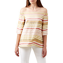 Buy Hobbs Elsie Stripe Bardot Top, Multi Online at johnlewis.com