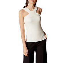 Buy Karen Millen Cross Halter Jersey Top, Ivory Online at johnlewis.com