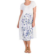 Buy Chesca Dotty Panel Linen Dress, White/Royal Online at johnlewis.com
