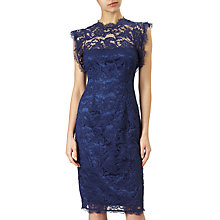 Buy Adrianna Papell Ruffle Sleeve Lace Sheath Dress, Night Navy Online at johnlewis.com