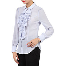 Buy Jolie Moi Textured Stripe Frilly Shirt, Blue Online at johnlewis.com