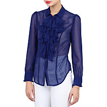 Buy Jolie Moi Chiffon Ruffle Shirt, Royal Blue Online at johnlewis.com