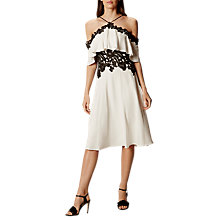 Buy Karen Millen Boho Off The Shoulder Flared Dress, White/Black Online at johnlewis.com