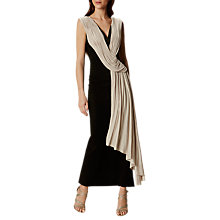 Buy Karen Millen Crepe and Drape Maxi Dress, Black/Ivory Online at johnlewis.com