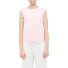 Buy Ted Baker Kaylane Lace Trim Fine Knit Top, Strawberry Online at johnlewis.com