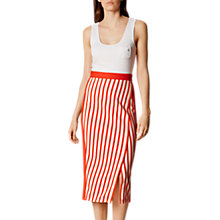 Buy Karen Millen Textured Stripe Skirt, Red/Multi Online at johnlewis.com
