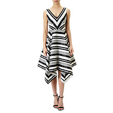 Buy Adrianna Papell Handkerchief Skirt Dress, Black/Ivory Online at johnlewis.com
