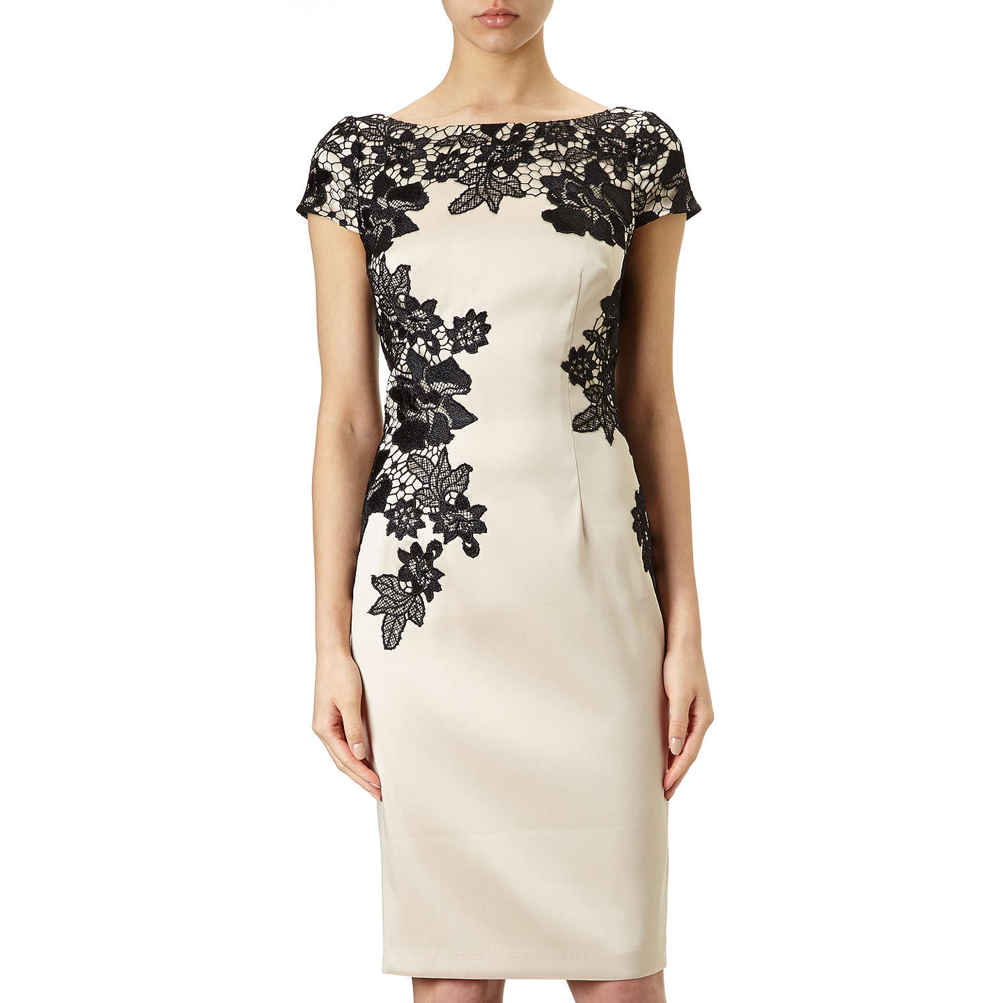 Adrianna Papell Cap Sleeve Cocktail Dress, Champagne/Black at John Lewis