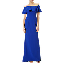 Buy Adrianna Papell Crepe Flounce Bardot Gown, Neptune Online at johnlewis.com