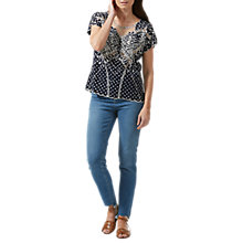 Buy Sugarhill Boutique Butterfly Embroidered Polka Dot Top, Navy Online at johnlewis.com