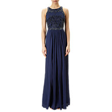 Buy Adrianna Papell Halter Neck Chiffon Beaded Bodice Gown, Midnight Online at johnlewis.com