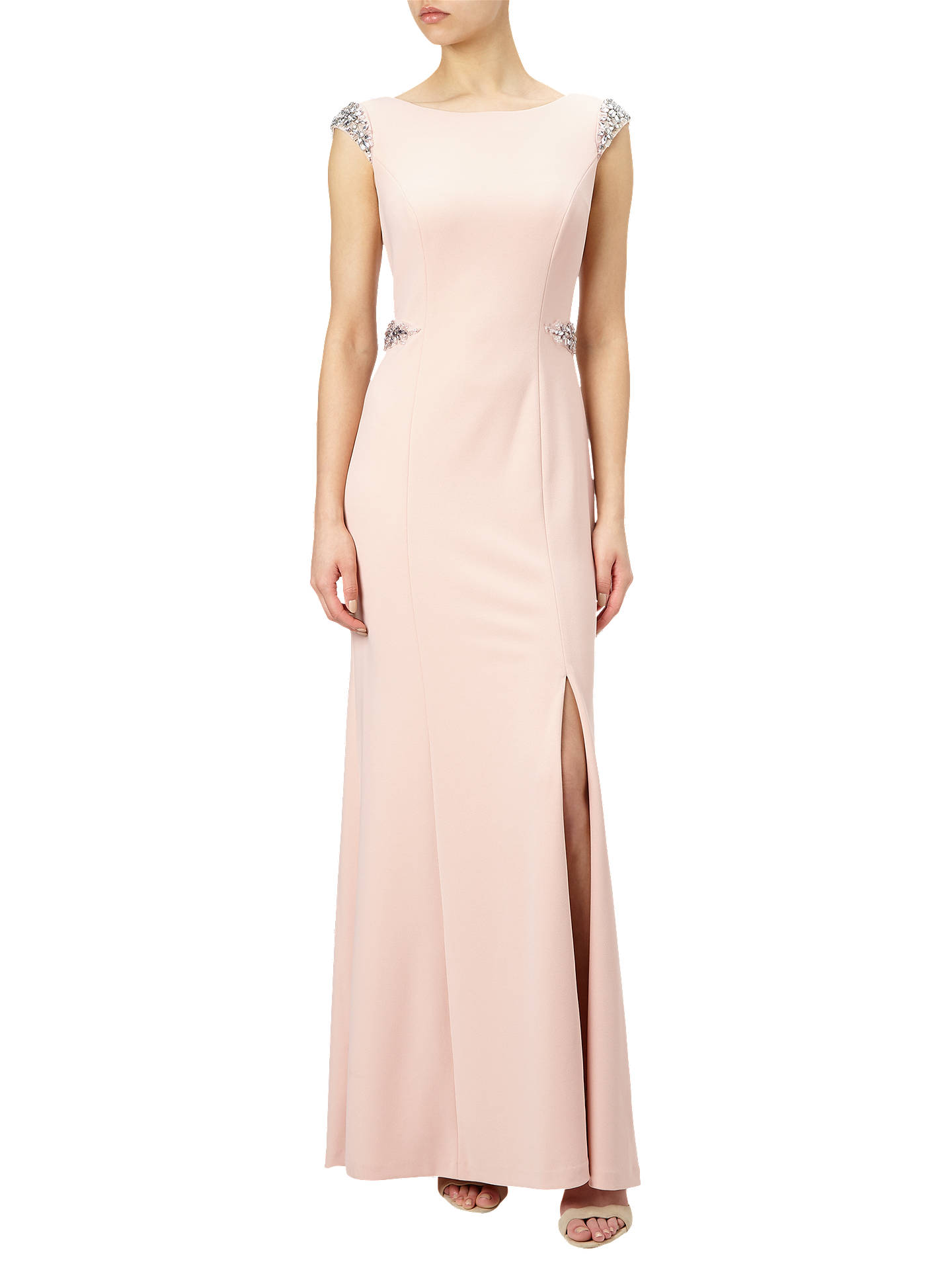 Adrianna Papell Cap Sleeve Crepe Mermaid Gown, Blush at John Lewis ...