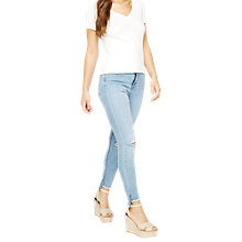 Buy Miss Selfridge Rouche Front T-Shirt, Cream Online at johnlewis.com